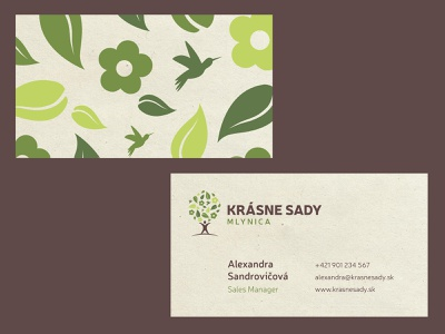Krásne Sady - Business Card business card print typography brand logo flat minimal creative branding