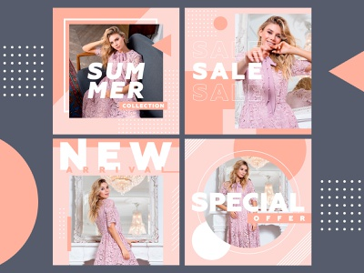 Social media banners geometric girl dress clothes fashion instagram ad advertising banner social media