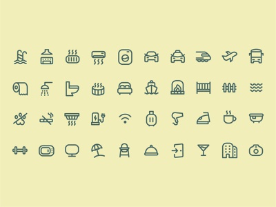 Hotel services and Travel icons set illustration userinterface branding flat design flat illustrator iconography icon design ui design icondesign icon graphic design