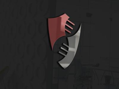 3d glass window logo mockup