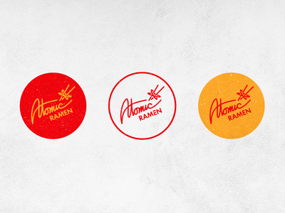 Atomic Ramen Logo graphic branding texture food atomic typography cursive 50s kitsch retro logo design