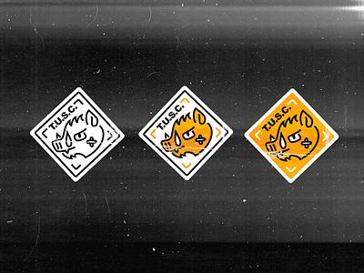 T.U.S.C. line hog safety caution organization political gold yellow patch sticker animal oklahoma tulsa illustration paper texture logo typography design graphic