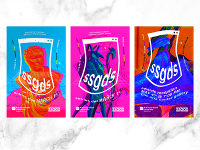 Poster Series for SSGDS graphic series saturated vaporwave maximalism typography branding design poster