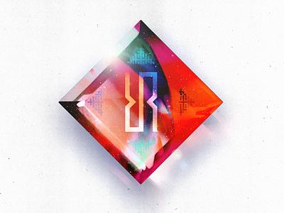 Space Age Blood Diamond cover album chiptune vaporwave photorealism lens flare concept refraction light crystal diamond galaxy space digital art digital photoshop logo design graphic branding