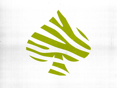 Lucky Zebra texture paper spade negative space stripe zebra gestalt design graphic logo