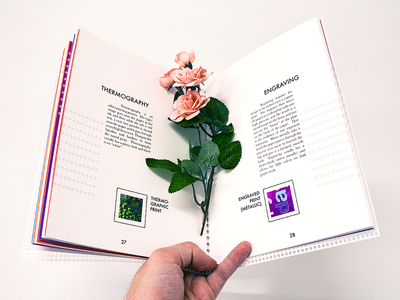 Printing Process Sample Booklet typography design page publication floral flower photography product process printing booklet book