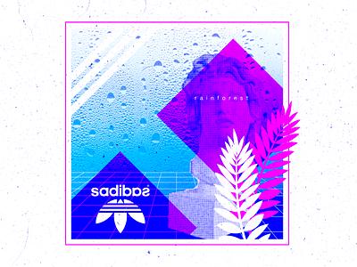 Rainforest saturated logo grain bust texture grid retro neon floral adidas surreal corporate vaporwave