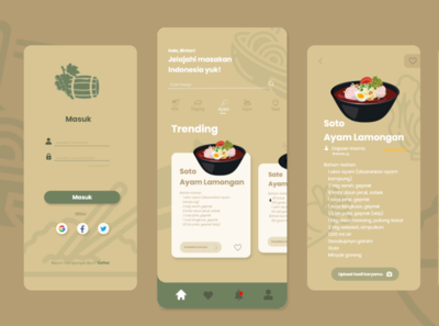 Indonesian food illustration flat app ui design
