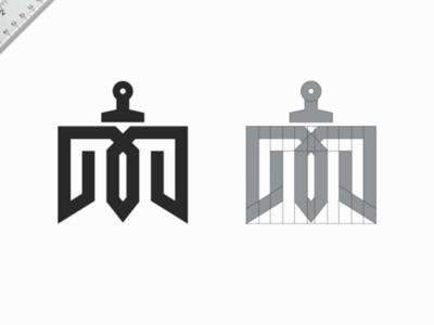sword  + M logo 💥 logo bold monogram m