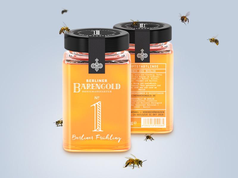 Berliner Bärengold monogram lettering bee honey packaging branding logo identity