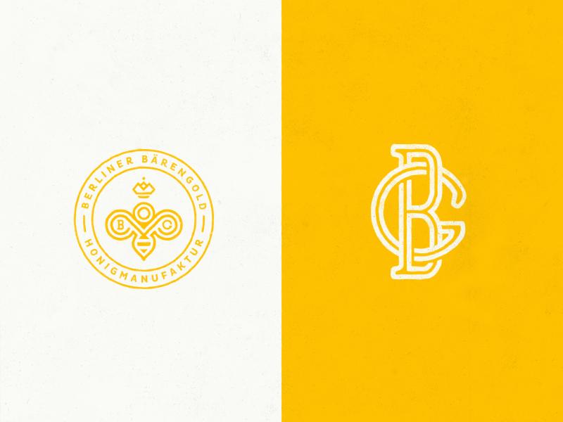 Berliner Bärengold queen crown stamp bee gb bg monogram branding logo identity