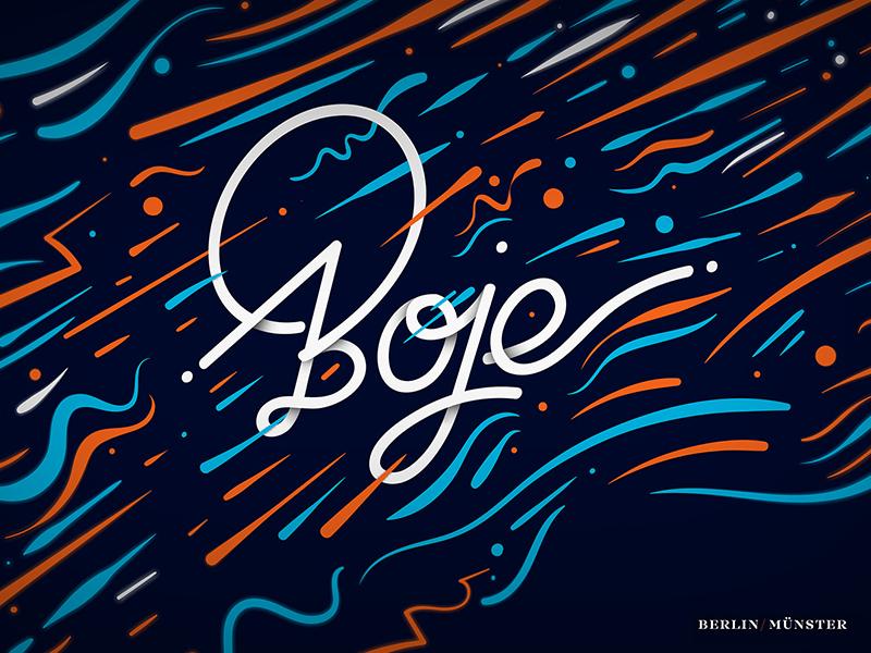 Boje design buoy typography vector illustration letter identity lettering branding logo
