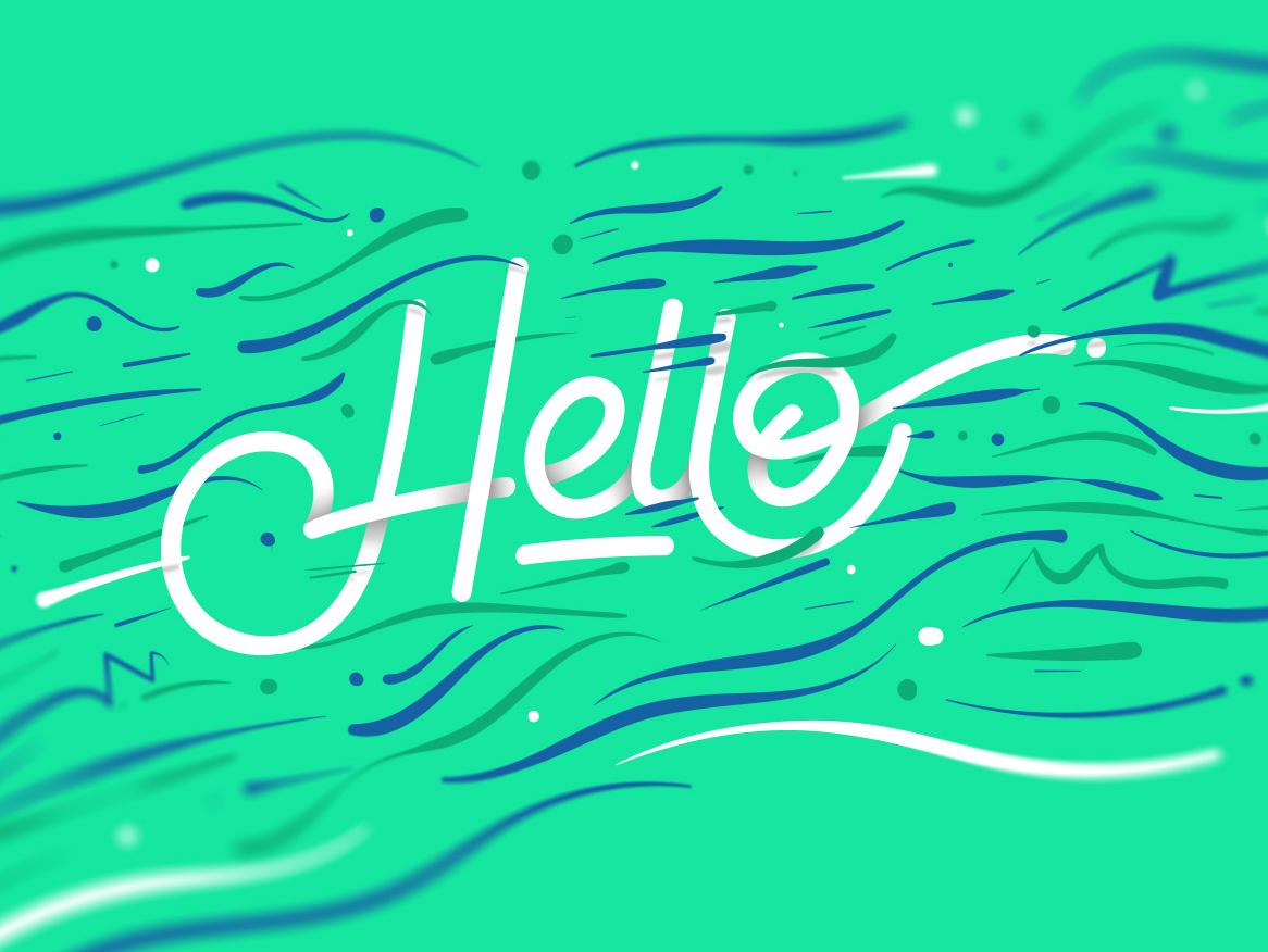 Hello typography vector illustration letter design lettering