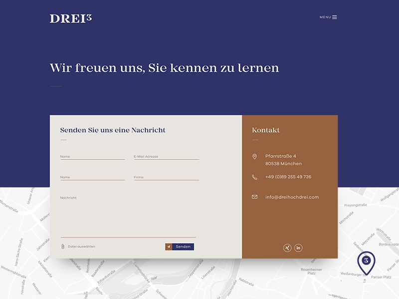 Drei³ — Contact Page web design uidesign ui contact form contact