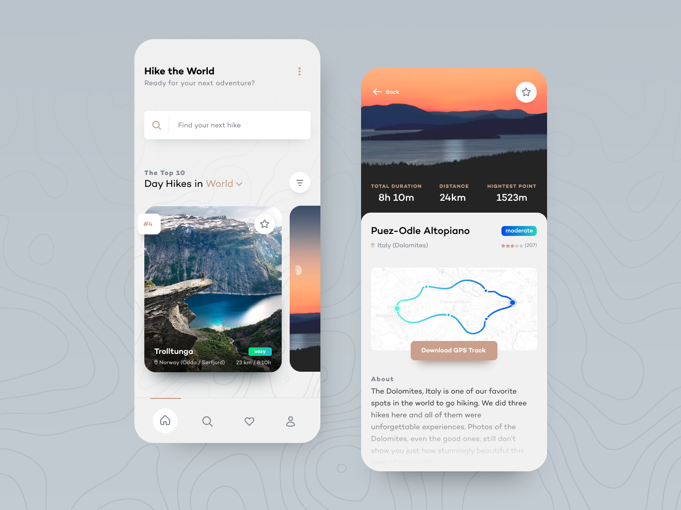 Hike the World — App Concept concept hiking interfaces design ui minimalism minimalist mobile app