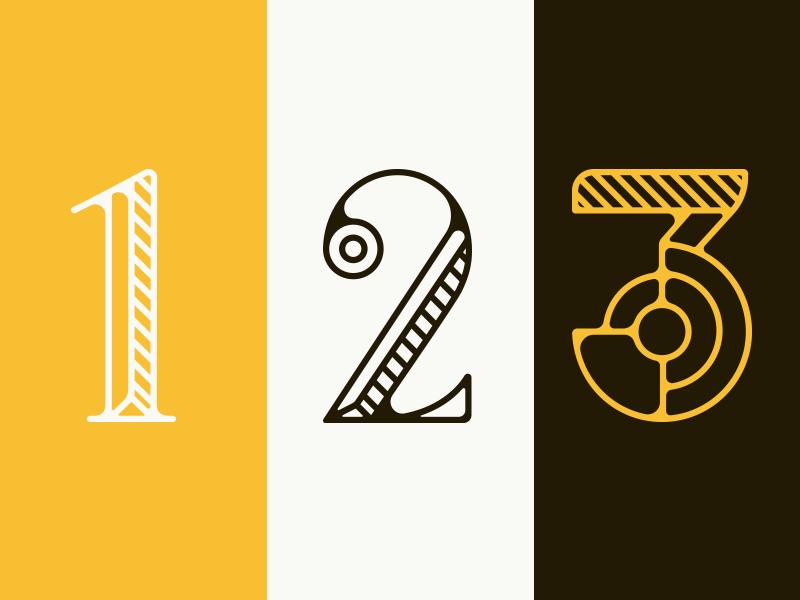 1, 2 & 3 letter honey bee identity design lettering vector typography