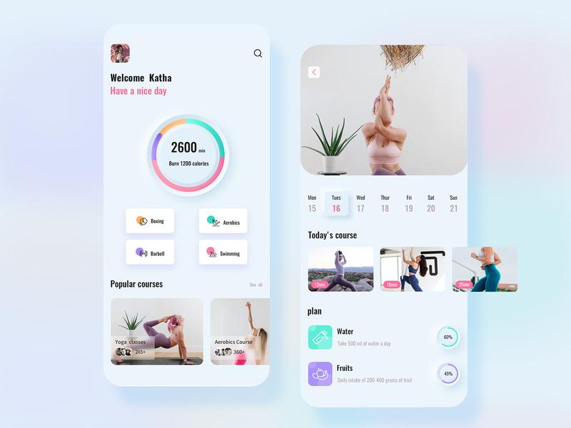 Fitness app ui design app