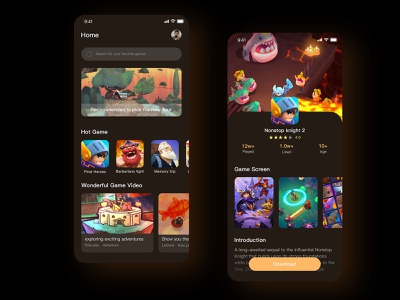 Game recommended applications design app