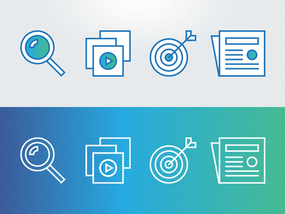 Icons and gradient icons gradient blue green