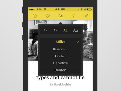 Type settings type fonts mobile reader article