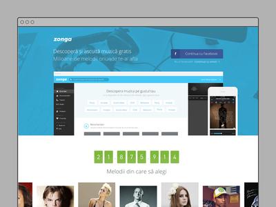 Zonga Landing Page landing page web design user interface design