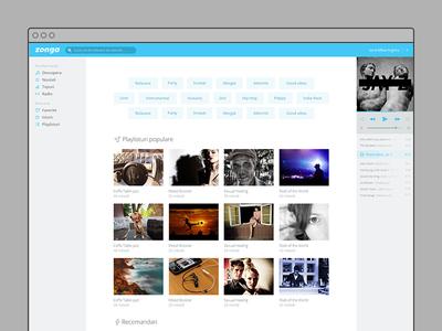 Zonga Web Player web application user interface design user experience design