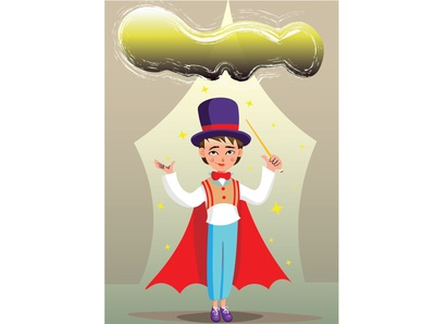 The Magician - illustration - coloranda.com stage stars transformation kids illustration succes emotions feelings cloud magician kid book kid illustration