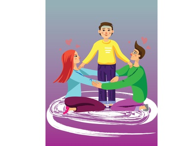Me and my parents -illustration - coloranda.com illustrator kids illustration kids book parenting parenthood protection boy father mother family portrait family kid parents digital illustration digital painting illustration