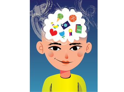 Me - illustration - coloranda.com kid art habits happy icecream feelings digital illustration illustrator myself kid book kid boy portrait colorful minimal usual brain inside me