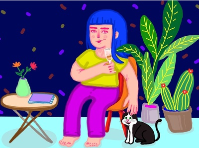 The quarantine life portrait plants cactus drink champagne girl character girl drinking chilling relax girl cat digital illustration illustration digital painting night mode livingroom quarantine