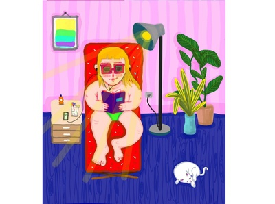 Chillin - #thequarantinelife coronavirus funny illustration sun sunbed bronzing bronze reading blonde cat kitten relaxing home limonade relaxing girly quarantinelife playa beach beach house room chillin