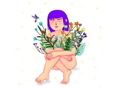 Wildflowers colorful dreamy purple hair bird cornflowers naked cute illustration stars wildlife chrysanthemums dreaming wild animal wildflowers colibri