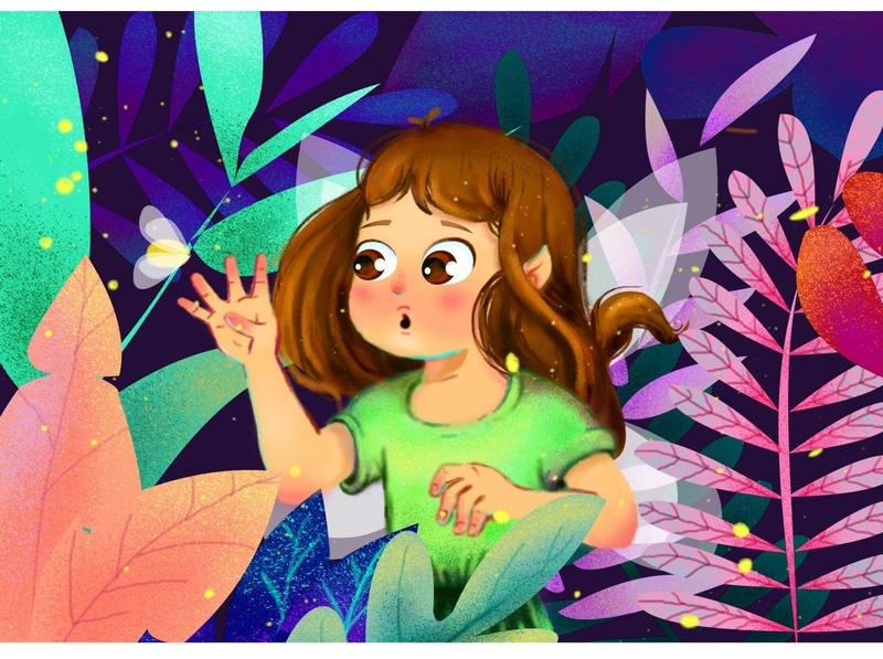 Fairy  in a cute meeting - coloranda.com magical fairytales fantasy colorful digital painting animaion curiosity wings night mode children book illustration childrens illustration childrens book kidstory meeting firefly fairytale fairy illustration