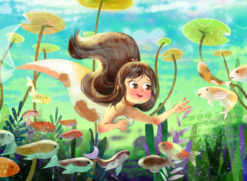 Ocean Girl - coloranda.com digital illustration mermaids mermaid happiness meeting friendship kids illustration kids book animation kids waterlilies turquoise green oceanic swimming girl swimming fish sirena sirens ocena life oceans