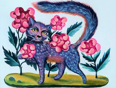 Kitty Kat - tempera illustration- www.coloranda.com tshirt design decorative feline animal animal illustration flowers tempera cat kitty illustration kitty cat