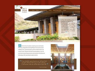 Price House Site home page web design historic ui design website web geometric concept price house foundation frank lloyd wright arizona