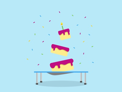 Jump Around! happy birthday birthday trampoline confetti sprinkles birthday cake cake illustrator illustration