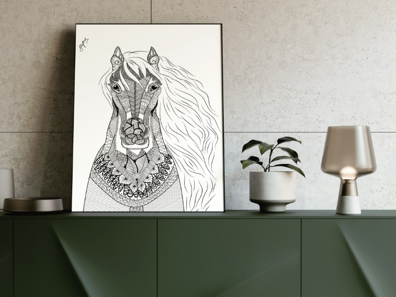 Horse Mandala wild nature animal order artlover artist creative details black and white doodle mandala horse