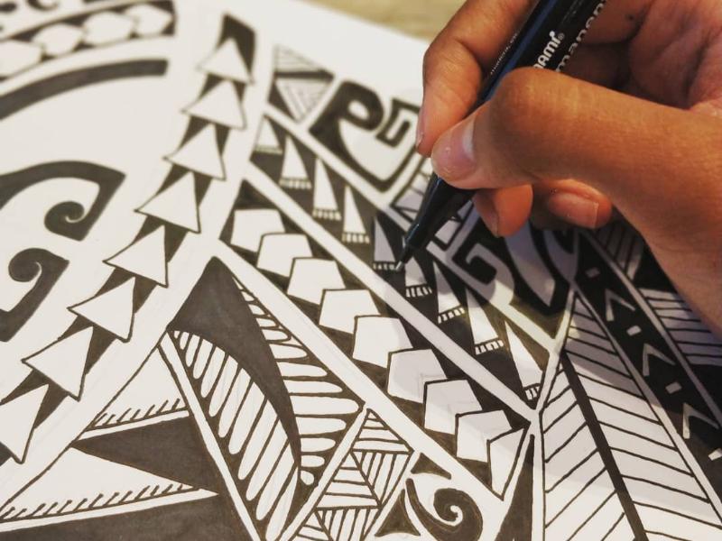 Maori tattoo design hand drawn mandala doodle artist creative detail design tattoo maori
