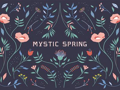Mystic Spring colors lettering branding typo flower pattern botanical illustration vector illustration vintage typography