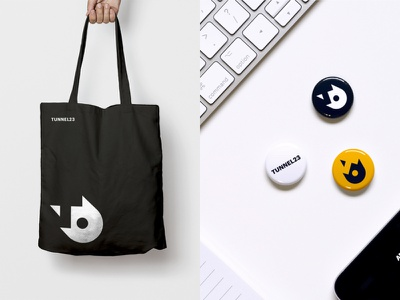 Tunnel 23 – Corporate Design – Giveaways logodesign logo minimalist typography grid based negative space swiss clean minimalism branding corporate design pins totebag giveaways