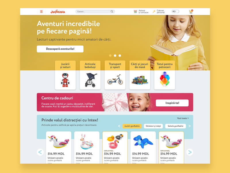 Jucarenia - Index page ux ui website design website web ux ui e-commerce website design