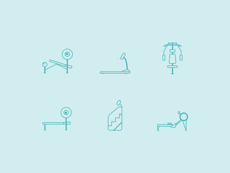Workout Icons - Freebie Sketch freebie icon workout inspiration sketch treadmill bench press free download awesome