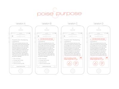 Poise & Purpose Split Testing