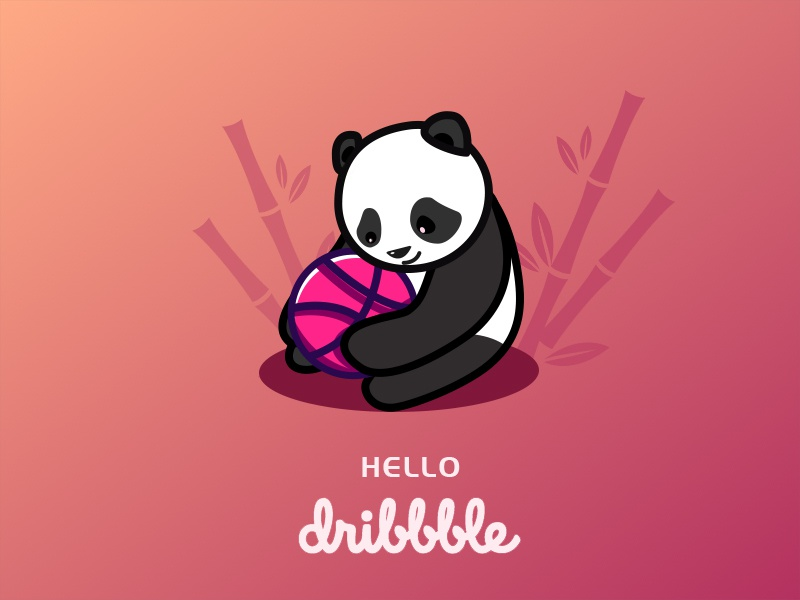 Hello Dribbble! ui 设计 插图 cartoon pandas