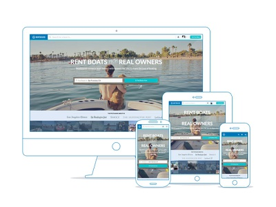Boatbound Home Page responsive landing splash ui search form