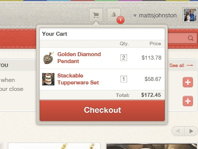 Tailored Cart cart ui drop down checkout button app web app
