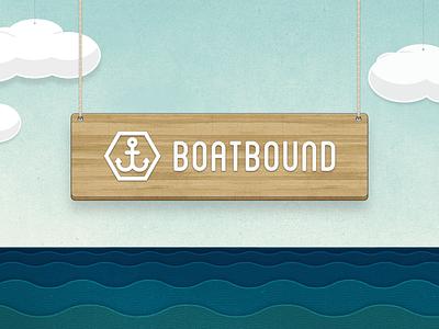 Boatbound Logo / Scene ocean waves sign set sky anchor boatbound wood logo