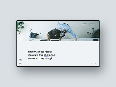 unanim.studio is live. onepage webdesign branding belgium agency studio portfolio design website