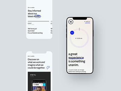 unanim.studio is live. mobile design portfolio agency webdesign mobile